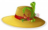 Illustration of a brown hat with a bird and a plant on a white background