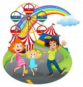 Illustration of a family at the carnival on a white background