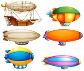 Illustration of the sets of flying objects on a white background