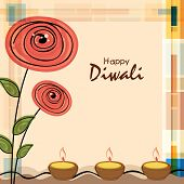 Stylish illuminated oil lit lamps with flowers design and text of Diwali for Diwali celebration on stylish background.