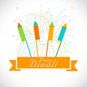 Diwali celebration with crackers and stylish text of Happy Diwali.