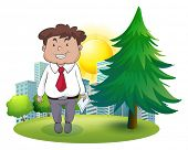 Illustration of a fat businessman standing beside the pine tree on a white background