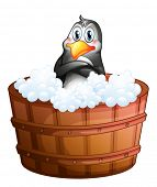Illustration of a barrel with a penguin on a white background