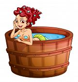 Illustration of a happy mermaid at the bathtub on a white background