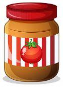 Illustration of a jar of tomato jam on a white background