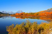 Beautiful landscape of Grand Tetons from Oxbow bend