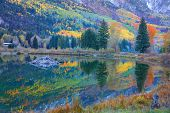 Beaver lake reflections in autumn time