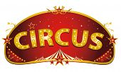 Magic red circus sign. A red and gold circus sign isolated on a white background for your entertainment