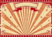 Horizontal retro red sunbeams. A circus vintage poster for your advertising. Perfect size for a scre