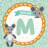 Abc Animals M Is Mouse. Childrens English Alphabet. Vector