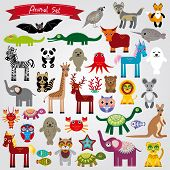 Set Of Funny Cartoon Animals Character On A White Background. Zoo