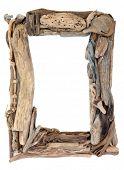 image of driftwood  - Driftwood frame over a white background - JPG
