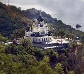 stock photo of tabernacle  - Foros Church of the Resurrection on the mountain above the sea in the Crimea - JPG