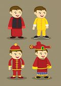 Traditional Chinese Costumes And Accessories For Men Vector Illustration
