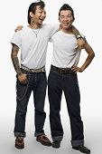 foto of rockabilly  - Two Asian men in rockabilly clothing - JPG