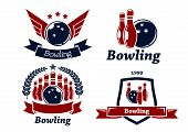 Bowling themed emblems and icons