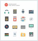 Pixel Perfect Sound Flat Icons Set