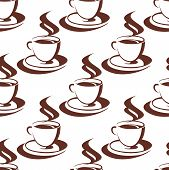 Seamless pattern of a steaming cup of coffee