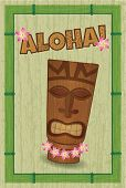 stock photo of tiki  - poster in style of hawaii with tiki - JPG