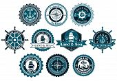 image of marines  - Circle marine heraldic labels with anchors - JPG