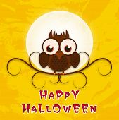 Dangerous sitting owl infront of moon with stylish Halloween text on yellow background.