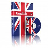 English book  in national flag cover and CD. 3d