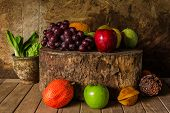 Still Life With On The Timber Full Of Fruit