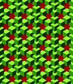 abstract green cubes with red background