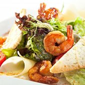 stock photo of caesar salad  - Seafood Caesar Salad with Shrimps - JPG