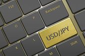 Computer Keyboard With Currency Pair: Usd/jpy Button