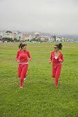 Middle Eastern women jogging