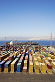 picture of container ship  - Panoramic view of containters in a harbour - JPG