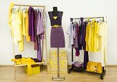 Dressing closet with complementary colors violet and yellow clothes.