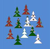 Decorative trees in white, red and green colors with stars