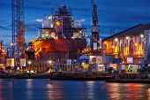 image of shipyard  - View of the quay shipyard of Gdansk Poland - JPG