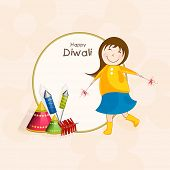 Little cute girl holding firecrackers and stylish text of Diwali on rounded frame for Diwali celebration.