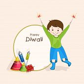 Stylish rounded frame with text of Diwali and little cute boy holding fire crackers for Diwali celebration on beige colour background.