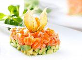 pic of tatar  - Salmon Tartar over White Background - JPG