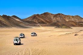 image of sahara desert  - Landscape of Sahara desert with jeeps for safari - JPG