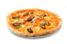 picture of norway lobster  - big italian pizza with seafood and norway lobster - JPG