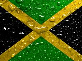 picture of jamaican flag  - a flag of Jamaica with rain drops - JPG