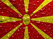 picture of macedonia  - a flag of Macedonia with rain drops - JPG