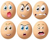 Illustration of eggs with facial expressions