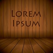 Wooden Laqured Stage Wall And Flor Background Sample Text