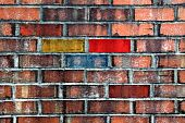 Brick Wall With Colors