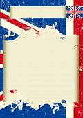 UK scratched poster. A background with the Union Jack flag and a frame for your message