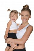 Mother With Her Daughter In Clothes For Fitness