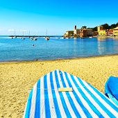 stock photo of genova  - Sestri Levante silence bay or Baia del Silenzio sea harbor boat and beach view on morning - JPG