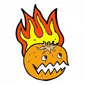 retro comic book style cartoon flaming pumpkin