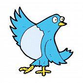 retro comic book style cartoon dancing bluebird